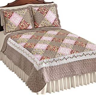 Collections Etc Clara Reversible Floral Patchwork Quilt, Diamond Patches with Quilted Stitching, Full/Queen