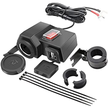 Aileap Dual USB Ports QC3.0 Car Charger with Blue LED Voltmeter Aluminum Phone Adapter Power DIY KIT for 12V//24V Vehicles Motorcycle Boat Truck Red