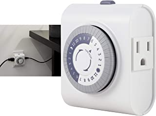 GE 24-Hour Heavy Duty Indoor Plug-in Mechanical Timer, 2 Grounded Outlets, 30 Minute Intervals, Daily On/Off Cycle, for La...