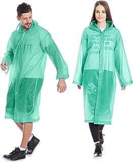 Kurtzy Rain coat for Adults   PVC Reusable Poncho Waterproof Rain wear with Hood (Large) (Green) (Pack of 2)
