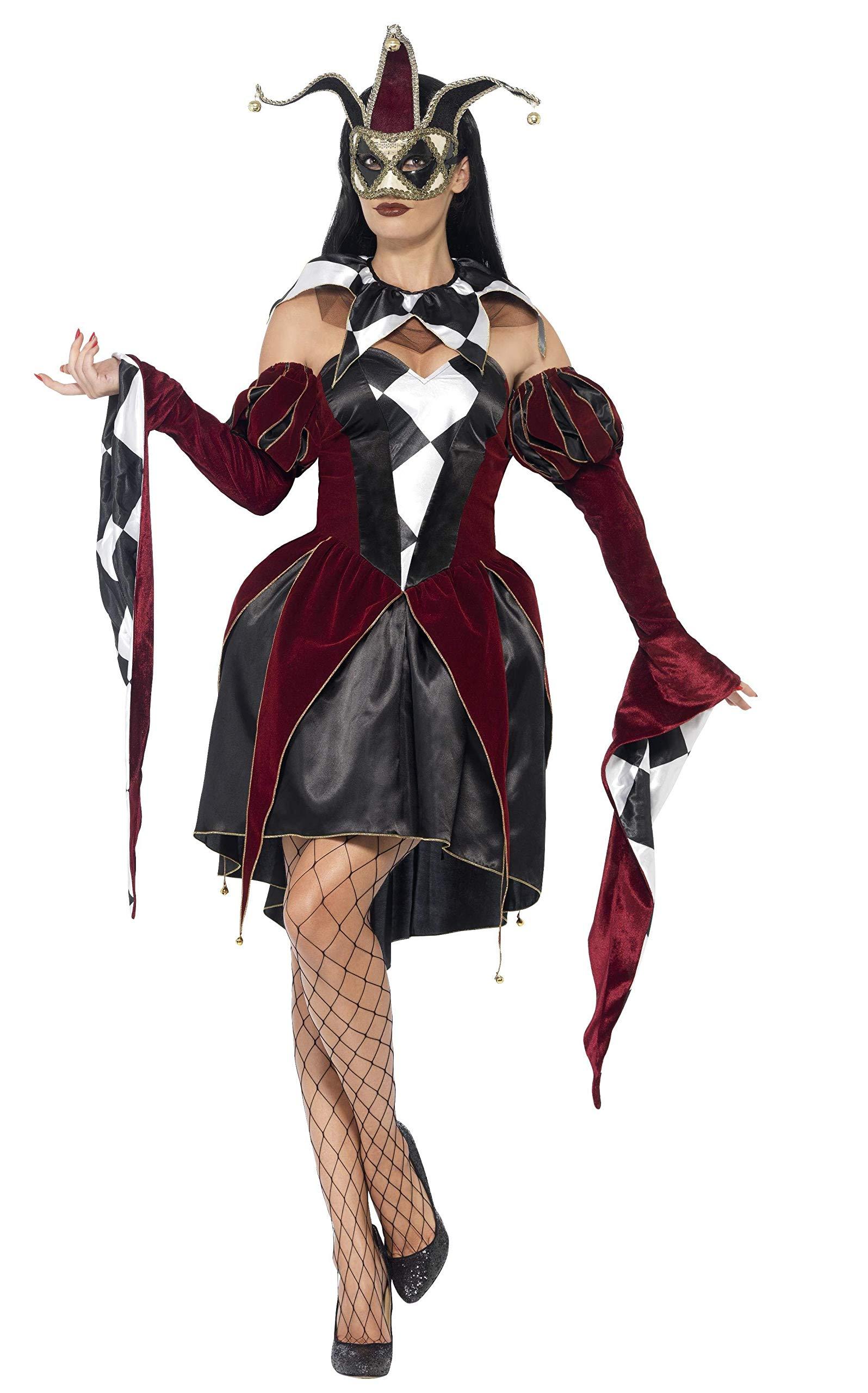 Smiffys-43652L Disfraz de arlequín gótico Veneciano, con Vestido ...