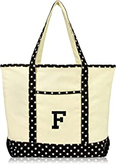 DALIX Initial Tote Bag Personalized Monogram Black Star Zippered Top Letter - F