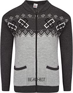 Beach837/JBC Mens Grandad Knitted Full Zip 2 Pocket Patterned Cardigan Size M L XL XXL