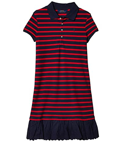Polo Ralph Lauren Kids Eyelet Stretch Mesh Polo Dress (Little Kids/Big Kids) (RL 2000 Red/Hunter Navy) Girl