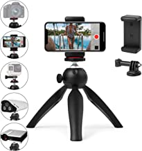 Polarduck Mini Tripod, Mini Phone Tripod Stand, Mini Tripod for iPhone/Compact DLSR/Samsung/Android Cellphone/Webcam/Projector with Universal Phone Mount & GoPro Mount, Fully Adjustable Angle Rotation