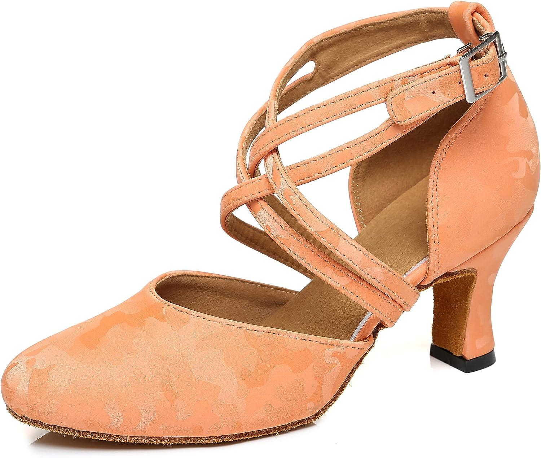 Minishion Women's Closed Toe Low Heel Dance Shoes Ankle Strap Da