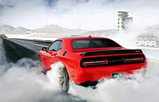 Dodge Challenger SRT Supercharged with HEMI Hellcat Engine (2015) Car Art Poster Print on 10 mil Archival Satin Paper Red Rear Side Burnout View 17