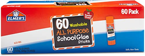 Elmer's All Purpose School Glue Sticks, Washable, 0.24 Ounce Glue Sticks for Kids | School Supplies | Scrapbooking Su...