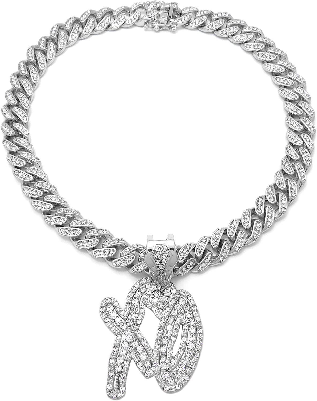 BLINGFACTORY White Gold Plated XO Pendant & 16