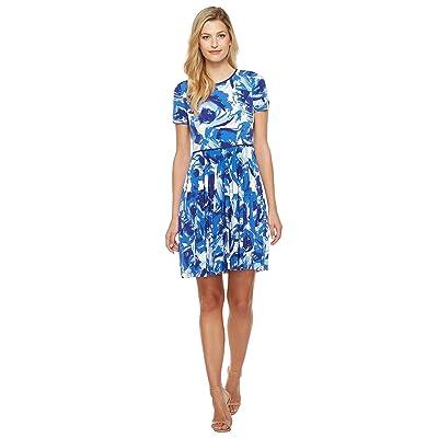 Maggy London Brushed Bud Jersey Git Flare Dress (Blue) Women