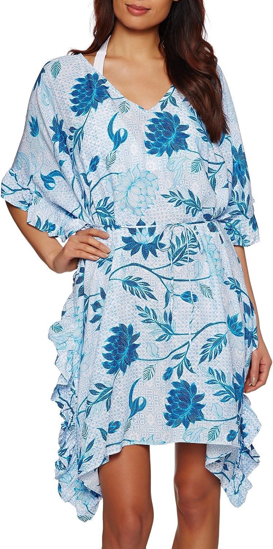 Seafolly Women's Bali Hai Ruffle Kaftan Swimsuit Cover Up