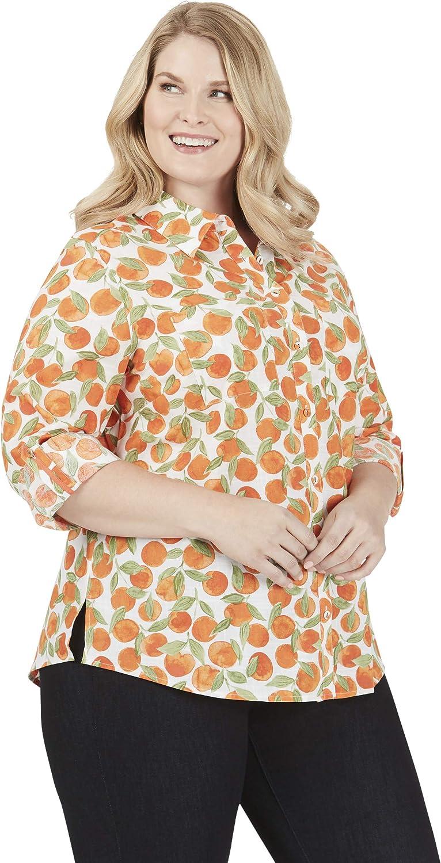 Foxcroft Zoey Plus Tossed Oranges Shirt