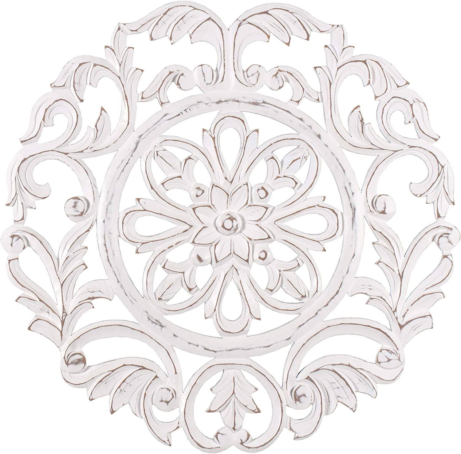 MH London Medallion Wall Décor Art - Hand-Carved MDF Accent Contemporary Artwork - Rustic Shabby Chic Plaque for Living Room, Bedroom - 23.5
