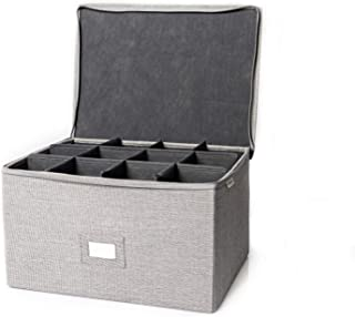 In This Space Twill Foldable Storage Chest for Stemware, Ornaments and Odd-Shape Plates