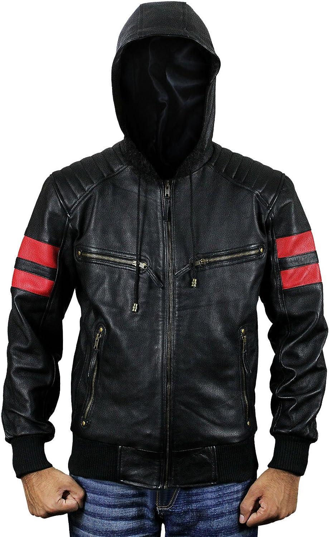 Men Biker Hoodie Red Stripes Quilted Shoulder Bomber Leather Jacket