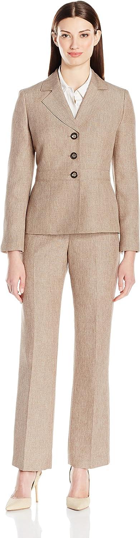 LeSuit Womens Basketweave 3 Button Jacket Pant Suit Suit Pants Set
