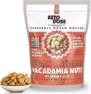 KetoDose Macadamia Nuts - Cheddar Flavored Roasted Macadamia Nuts - 1G Net Carb - Sugar-Free Keto Snacks