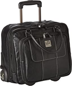 Pebbeled Vinyl Double Gusset Top-Zip Wheeled Computer Case