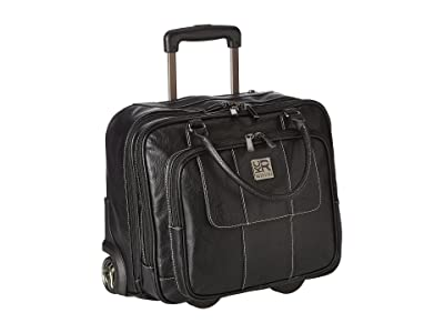 Kenneth Cole Reaction Pebbeled Vinyl Double Gusset Top-Zip Wheeled Computer Case (Black) Computer Bags