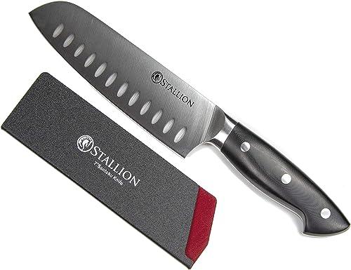 Stallion Couteau professionnel Santoku 17,5 cm - Lame en acier de couteau allemand 1.4116 et manche en G10 GF