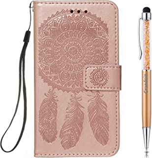Lucifa for iPhone XR Case, [Dreamcatcher] PU Leather Magnetic Flip Cover with Card Slots Holders [Soft Silicone Inner] Bookstyle Wallet Case for Apple iPhone XR (6.1 Inches) (Rose Gold)