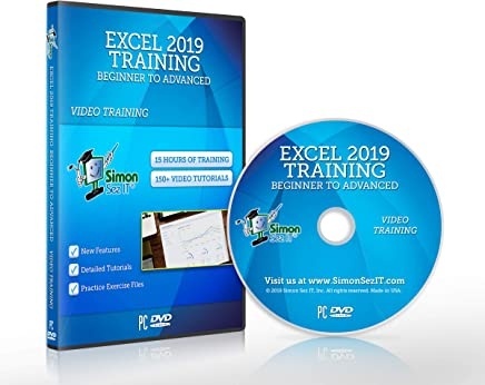 $21 Get Excel 2019 Training DVD by Simon Sez IT: Excel Tutorial For Absolute Beginners to Advanced Users – Excel Course Including Exercise Files