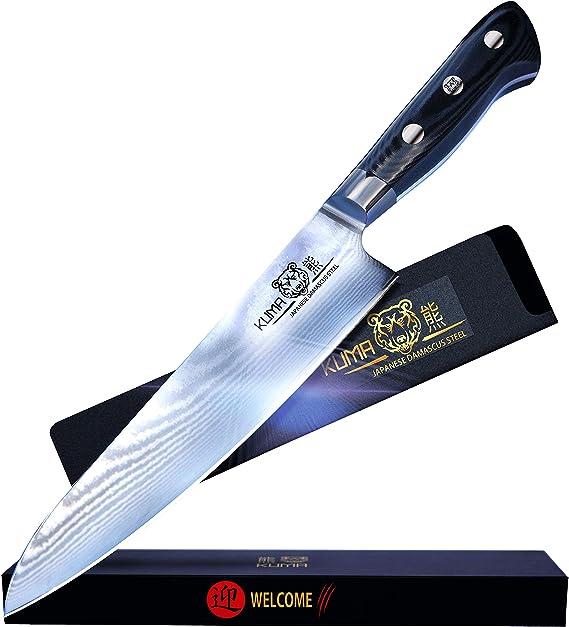 KUMA Professional Damascus Steel Knife – 8 inch Chef Knife with Hardened Japanese Carbon Steel - Stain & Corrosion Resistant Blade - Balanced Ergonomic Handle & Sheath – Safe