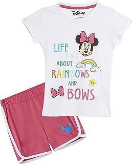 Minnie Mouse Pijama Niña, Ropa Niña 100% Algodón, Conjunto Pijamas Verano Cortos 2 Piezas, Pijama Rosa para Dormir o Vacaciones, Regalos para Niñas Edad 3-7 Años