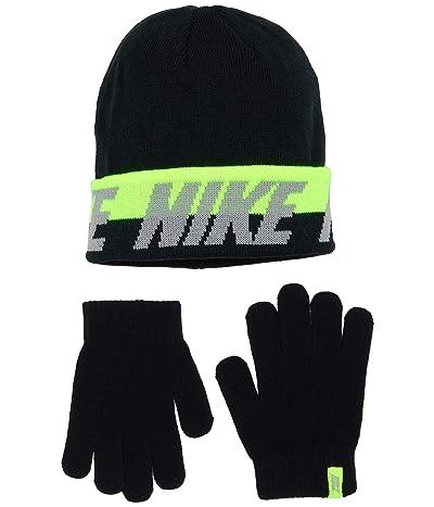 Nike Kids Beanie and Gloves Two-Piece Set (Big Kids) (Black Volt) Snowboard Gloves