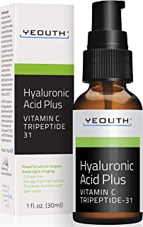 YEOUTH Best Anti Aging Vitamin C Serum with Hyaluronic Acid & Tripeptide 31 Trumps ALL Others. … (1oz)