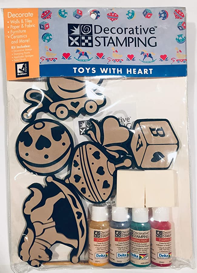 Toys with Heart 15 Piece Stamp Kit with Delta Paints Sponges Brushes Applicators