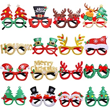 Boao 12 Pairs Christmas Glasses Frames 3D Novelty Eyeglasses Christmas Party Props Glasses for Adults Women Photos Photography One Size Fit Most People