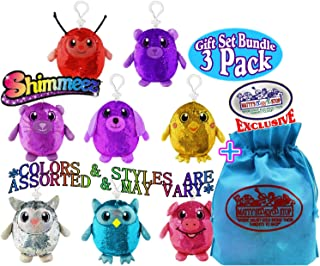 Shimmeez 4-Inch Clip On Surprise Mystery Sequin Plush Animals Gift Set Blind Bundle with Exclusive Matty's Toy Stop Storage Bag - 3 Pack (Assorted)