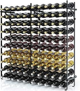 Giantex 100 Bottle Wine Rack Wine Bottle Display Shelves 10 Tier Metal Stackable Stand Wobbly-Free Wine Bottle Holder Orga...
