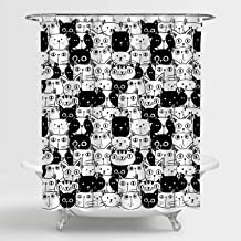MitoVilla Cartoon Animals Art Deco for Bathroom Cute Hand Drawn Doodle Cats Black and White Shower Curtain Funny Gifts for...