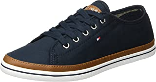 TOMMY HILFIGER Women's Contrast Detail Canvas Trainer 100% Cotton