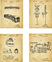 Train Patent Wall Art Prints - set of Four (8x10) Unframed - wall art decor for locomotive lovers