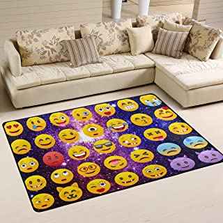 Naanle Galaxy Emoji Non Slip Area Rug for Living Dinning Room Bedroom Kitchen, 2' x 3'(24 x 36 Inches), Emoji Nursery Rug Floor Carpet Yoga Mat
