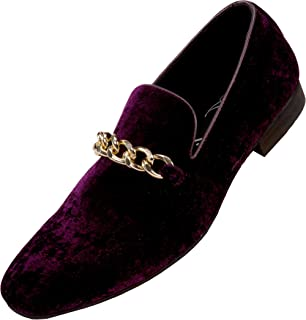 Amali Fay Velvet Men's Slip-On Shoes with Gold Chain Ornament Dress Shoes for Men Velvet Formal Loafers for Men The Original Smoking Men Tuxedo Dress Shoes