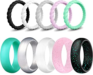SkullParty Silicone Wedding Ring Bands for Women 10 Pack Size 5 6 7 8 9 Womens Thin Stackable & Flash Powder Rubber Wedding Band Rings 5.7mm & 3mm Wide - Pink Black Teal Metallic White Grey Mint Green