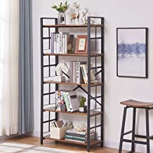 OIAHOMY Industrial Bookshelf,5-Tier Vintage Bookcase and Bookshelves,Rustic Wood and Metal Shelving Unit,Display Rack and ...