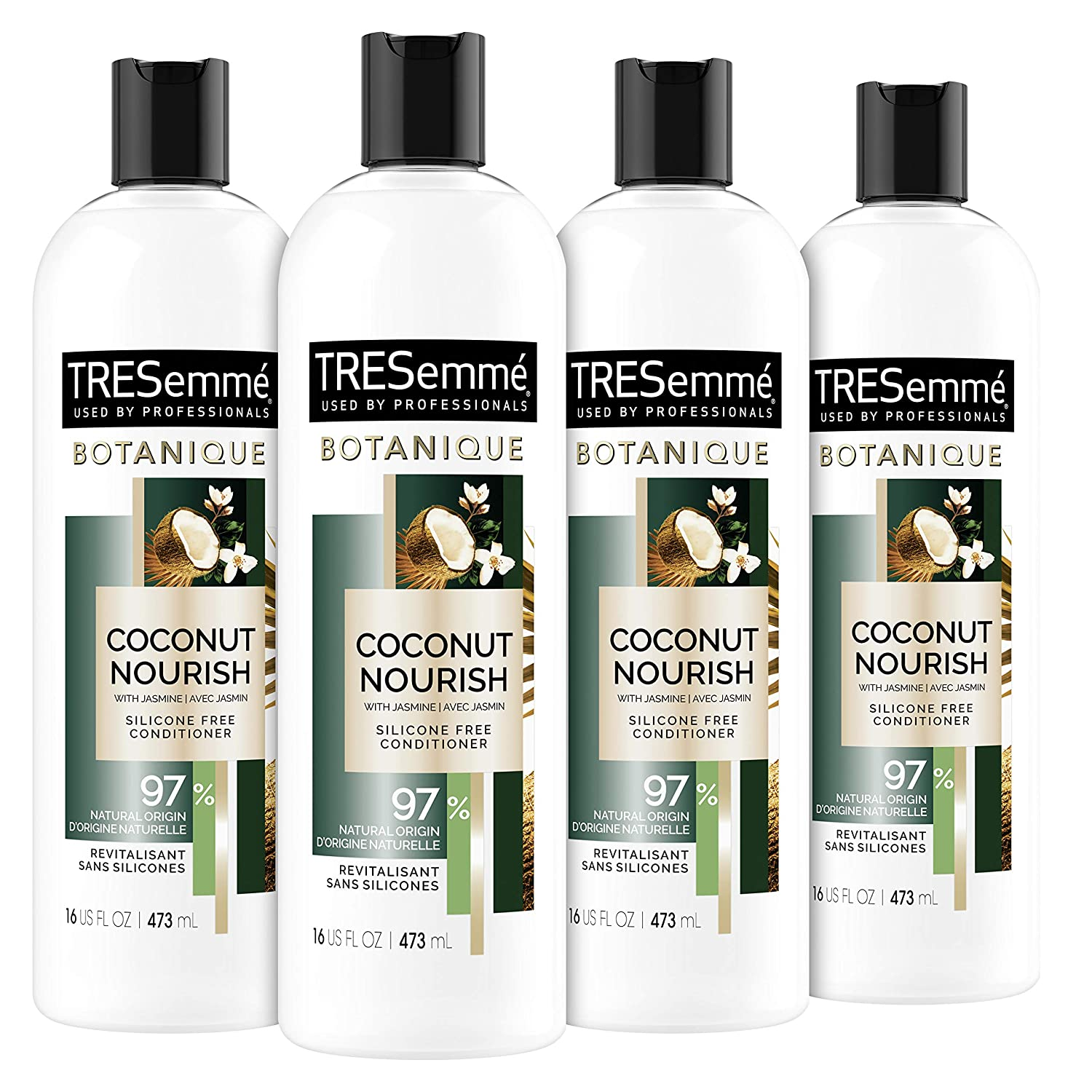 TRESemmé Botanique Conditioner for Dry Hair And Damaged Hair Botanique Coconut Nourish 97% Natural Derived Ingredients with Professional Performance 16 oz 4 Count