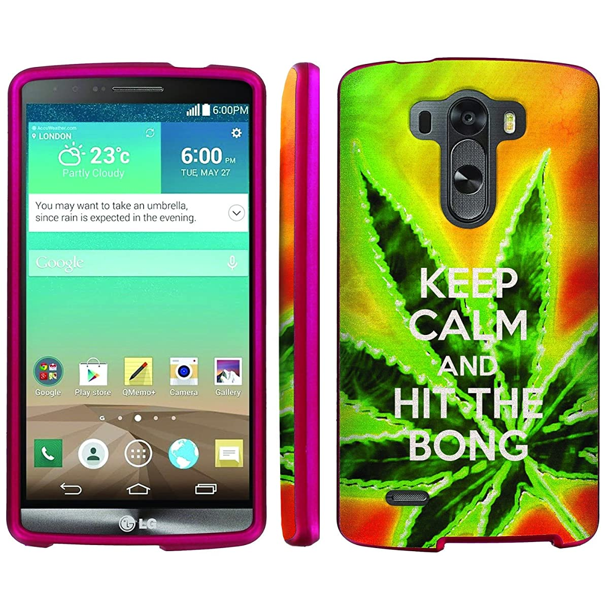 Mobiflare, Slim Guard Armor Design Pink Case, for [LG G3] - Keep Calm Hit the Bong