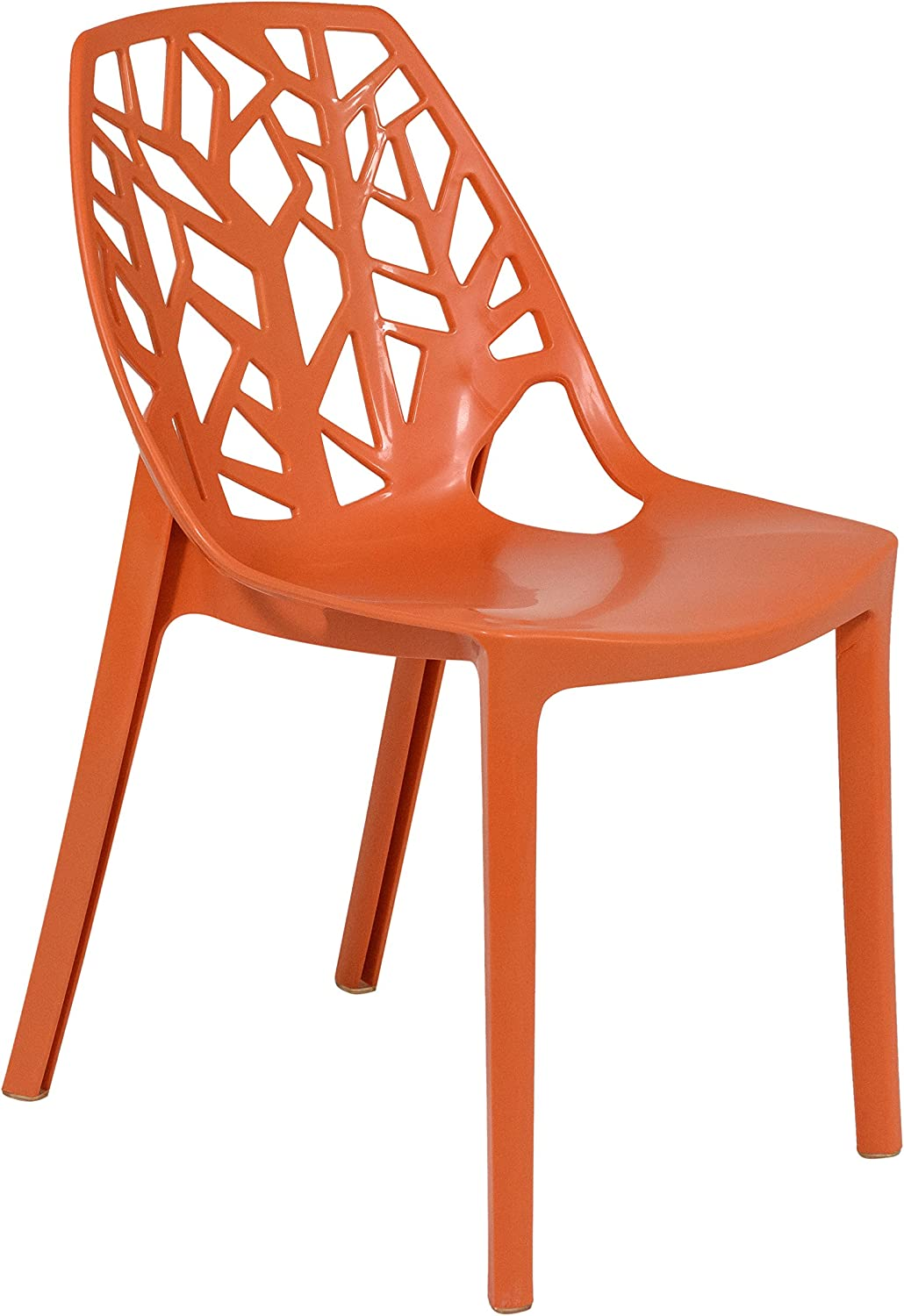 LeisureMod Caswell Cut-Out Tree Design Modern Dining Chairs (Solid orange)