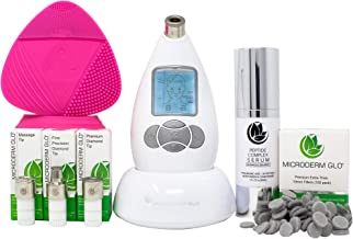 Microderm GLO Complete Skincare Package Includes Diamond Microdermabrasion System, Premium, Fine, Massage Tips, 10mm Filters 100 pack, Peptide Complex Serum & Sonic Facial Cleansing Brush (White)