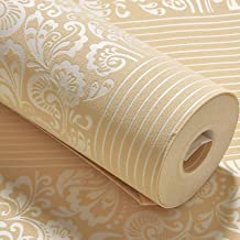 0.53X9.5m 3D Wallpaper Roll, Simple Non-woven Wall Paper, Living Room Bedroom Home TV Background Wall Covering (Color : Ye...