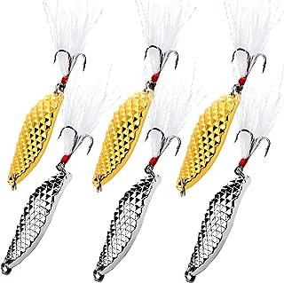 Sougayilang Spoons Hard Fishing Lures Treble Hooks Salmon Bass Metal Fishing Lure Baits