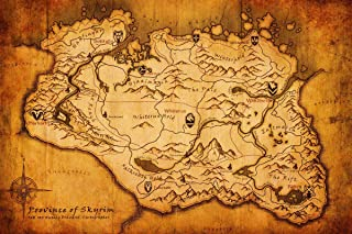 Gifts Delight Laminated 16x11 Poster: Vintage Map - SAMS GOTY 2016 The Elder Scrolls V Skyrim - Special Edition - PS4 Attitude