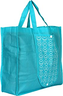 Kuber Industries Foldable Reusable Smiley Printed Shopping Bag with One Small Pocket (Blue)