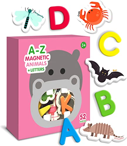 Curious Columbus Magnetic Animals and Letters Set of 52. Includes 26 Foam Animal Picture Magnets Plus 26 Uppercase Al...